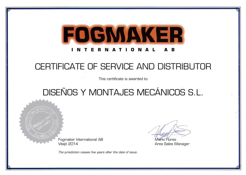 Certificado distribuidor Fogmaker